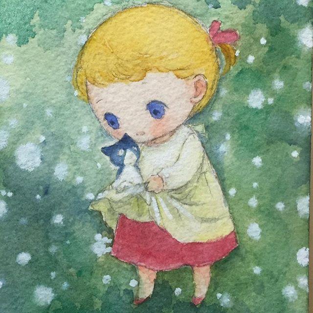 かぎしっぽのタマのミニ絵本 「あったかの本」の中の絵です。 水彩画展もいよいよ明日、ドキドキです。  #イラスト #illustration #イラスト #art #cat #children #watercolor #painting #水彩画 #猫 #もとp #かわいいfukudamotoko2017/09/15 00:12:49