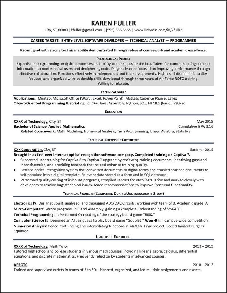 92 best Resume Examples images on Pinterest Asia, Biography and - software developer resume example
