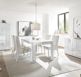 Sala completa di tavolo, madia 3 ante e vetrina in bianco laccato lucido serigrafato