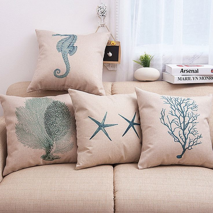 45*45cm starfish seagrass hippocampus linen pillow case Decorative Throw Cover 18'' fronha Free shipping