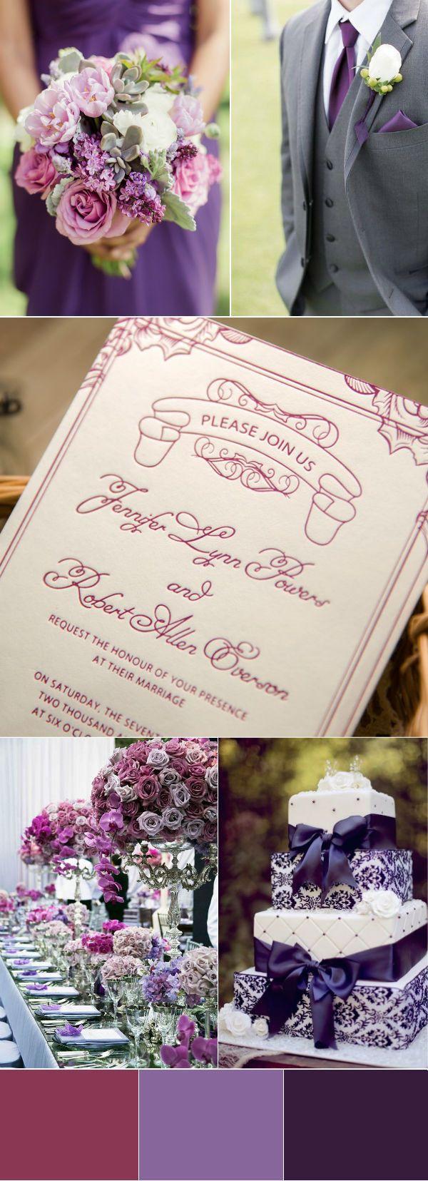 Classic Purple Letterpress Wedding Invitations Ewlp001