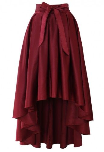 Styling Tips: Bowknot Asymmetric Waterfall Skirt in Wine Red