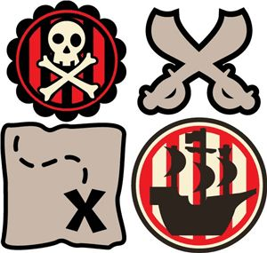 Silhouette Online Store - View Design #23228: 4 pirate cupcake toppers