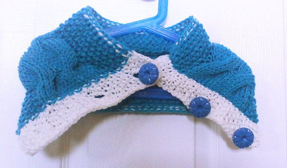 Blue white Hand Knitted Cowl knit Scarf necklace by HandmadeTrend, $25.00