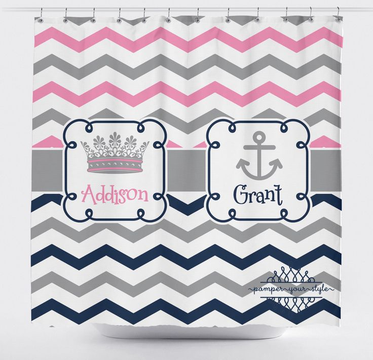 Princess and Anchor Shower Curtain - Chevron Shower Curtain - Jack and Jill Shower Curtain - Sibling Shower Curtain by PAMPERYOURSTYLE on Etsy https://www.etsy.com/listing/209096821/princess-and-anchor-shower-curtain