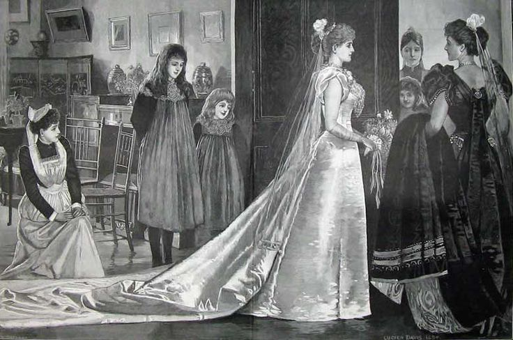 Court presentation gown, coming out with a ten foot train.