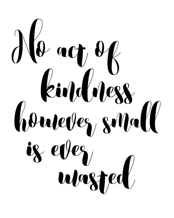 NO ACT OF KINDNESS HOWEVER SMALL IS EVER WASTED - INSPIRATIONAL QUOTE. If youre in need of a little extra positivity in your life, this printable wall art featuring a well known inspirational quote will be a beautiful reminder of what really matters... while also making the walls of your home look exceptionally pretty! It also makes a perfect last minute gift for anyone who needs a little extra inspiration in their life. PIN NOW TO SAVE FOR LATER