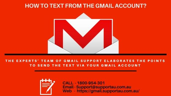 """The experts' team of <a href=""""https://gmail.supportau.com.au/"""">Gmail Support</a> elaborates the points to send the text via your Gmail account."""