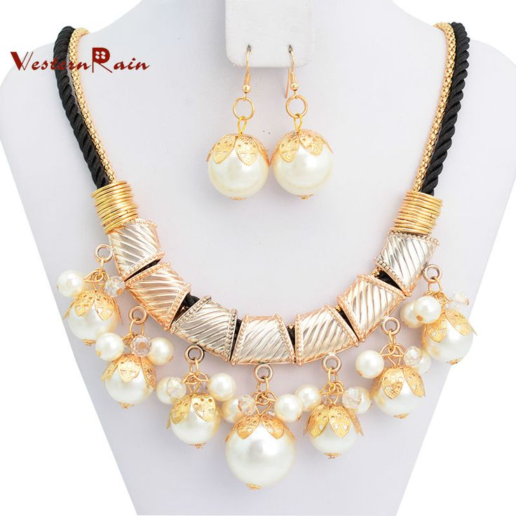 Free Shipping New Fashion Costume Gold Plated Russia African Women Pearl Wedding Bridal Jewelry Set