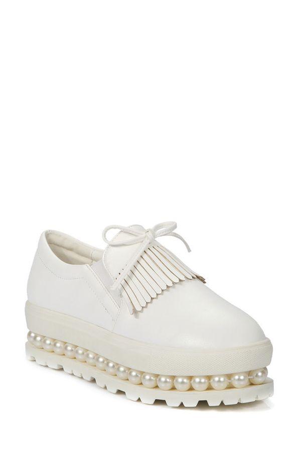 Fringe Faux Pearl Slip-On Platform Shoes