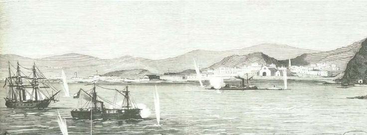 Combate Naval de Arica, en donde el Monitor Huáscar; bajo el mando del Capitán Manuel Thompson, y la Cañonera Magallanes; bajo el mando del Capitán Carlos Condell. Se enfrentaron contra el Monitor Manco Cápac.