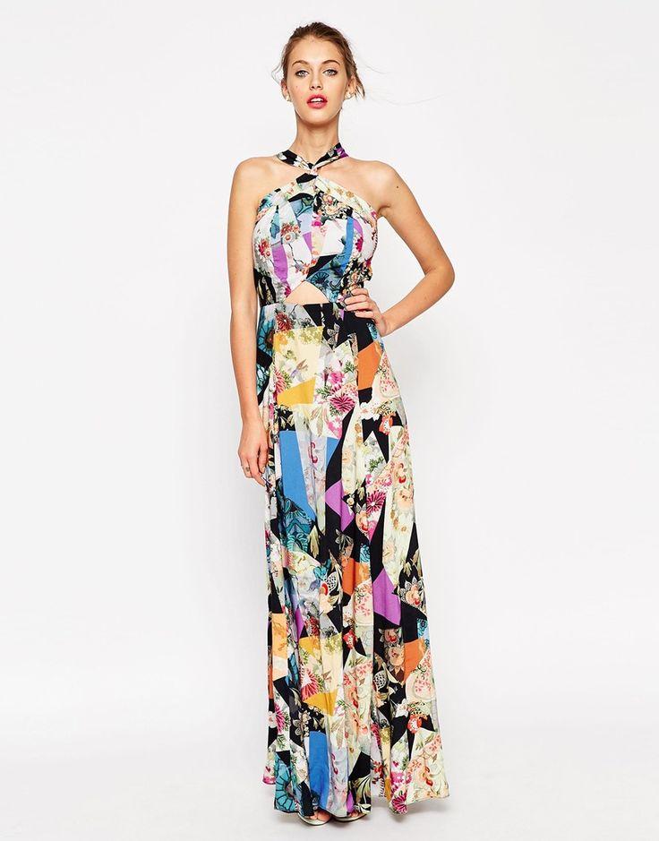 Image 1 ofASOS Dark Based Floral Print Cut Out Maxi Dress