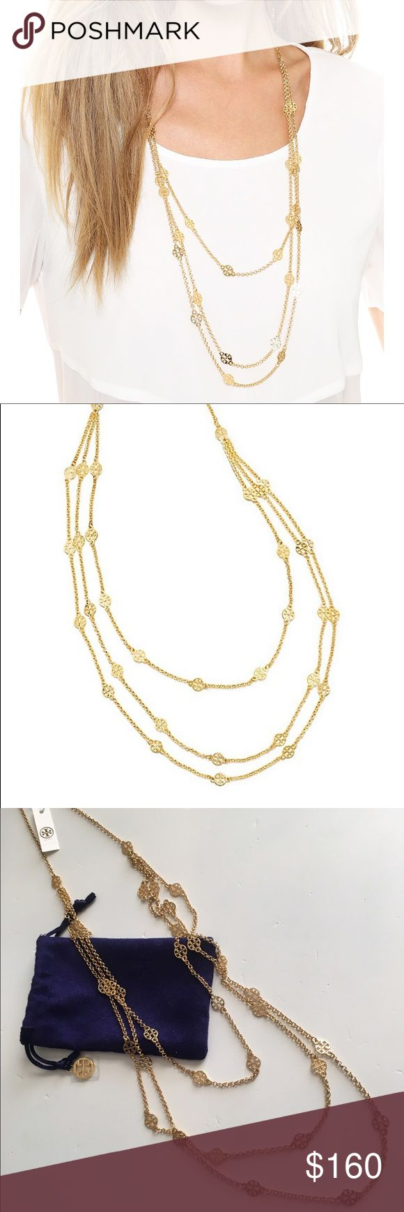 """🆕 Tory Burch Multi-Strand Logo Necklace Gold NWT Get linked in: Multi-Strand Logo Necklace features tiny signature 'T' charms on layers of polished chains. Great with casual and evening looks alike, it brings a little shine to your everyday. STYLE NUMBER11145978                          Length: 35.86"""" (90 cm) Longest strand drop: 17.93"""" (45.0 cm) Middle strand drop: 16.33"""" (41.0 cm) Shortest strand drop: 14.74"""" (37.0 cm) Lobster clasp closure   16k gold-plate brass (shiny gold) Tory Burch…"""