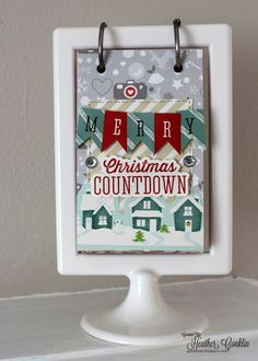 "Merry Christmas Countdown Calendar for @Xyron Inc.'s 30 Days of Holiday Projects by DT Member Heather Conklin. Uses Xyron Mega Runner & 9"" Creative Station and American Crafts and Studio Calico products."