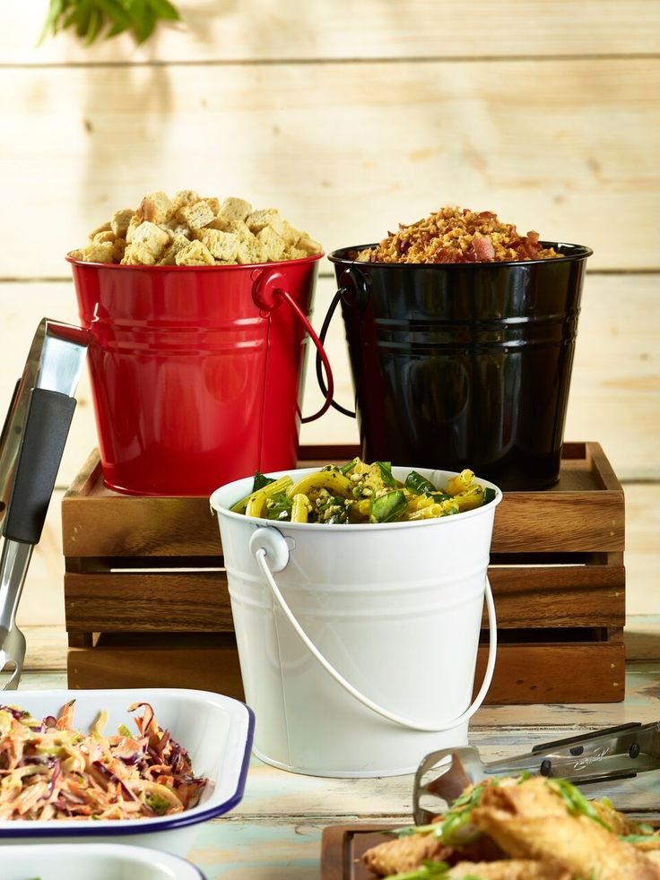 Our Coloured Galvanized Serving Buckets add a modern twist to buffet service! Available here at http://www.mklimited.com/food-beverage-service/food-service-items/quirky-service-items/100mm-coloured-galvanised-steel-serving-bucket-x12-detail.html