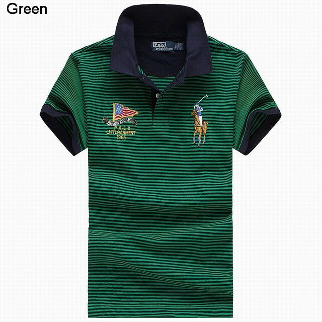 Ralph Lauren Men Flag Striped Color Pony Polo Green Navy