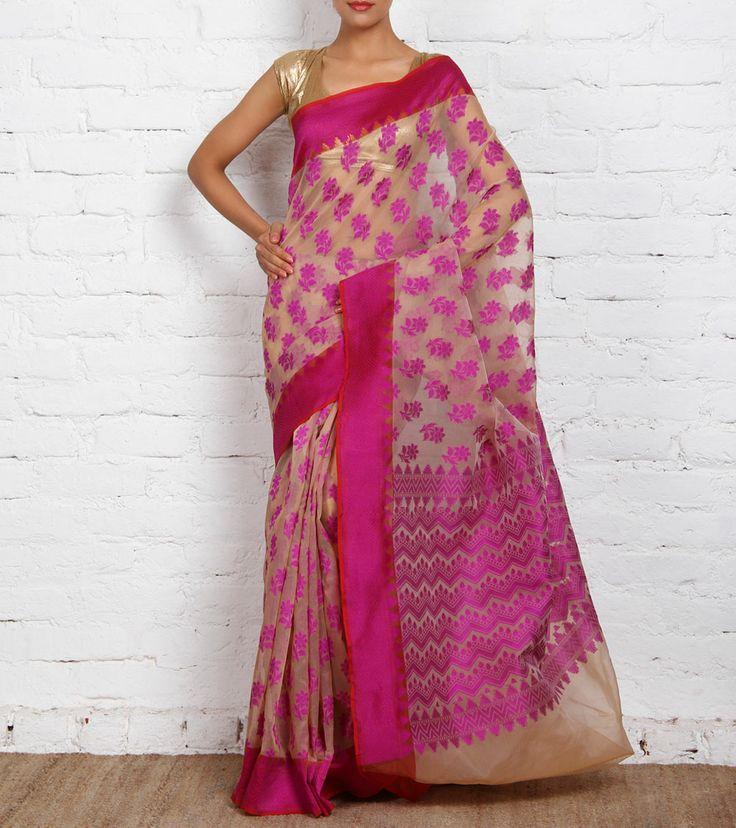 indian roots purple sarees | Purple Tussar Chanderi Saree with Resham Work