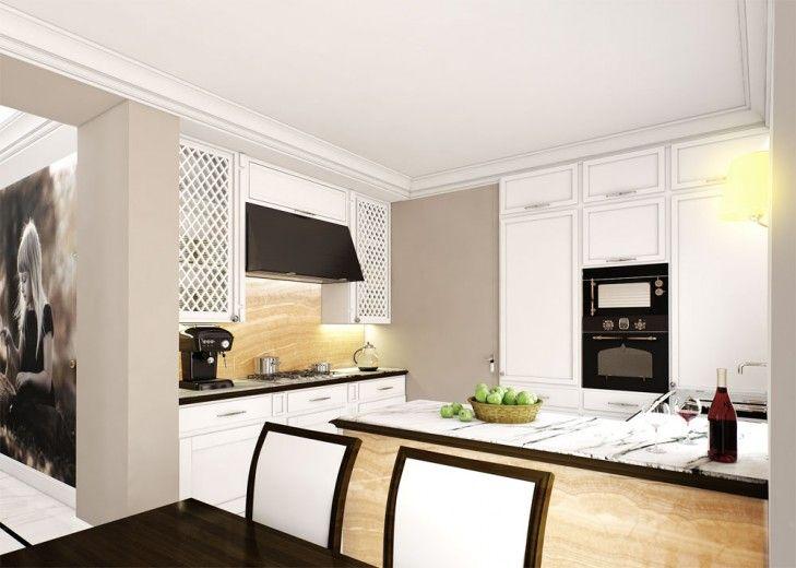 Wystrój białej kuchni z użyciem onyxu na zabudowie wyspy kuchennej. Pomieszczenie delikatne frezy frontów i subtelne detale mebli.
