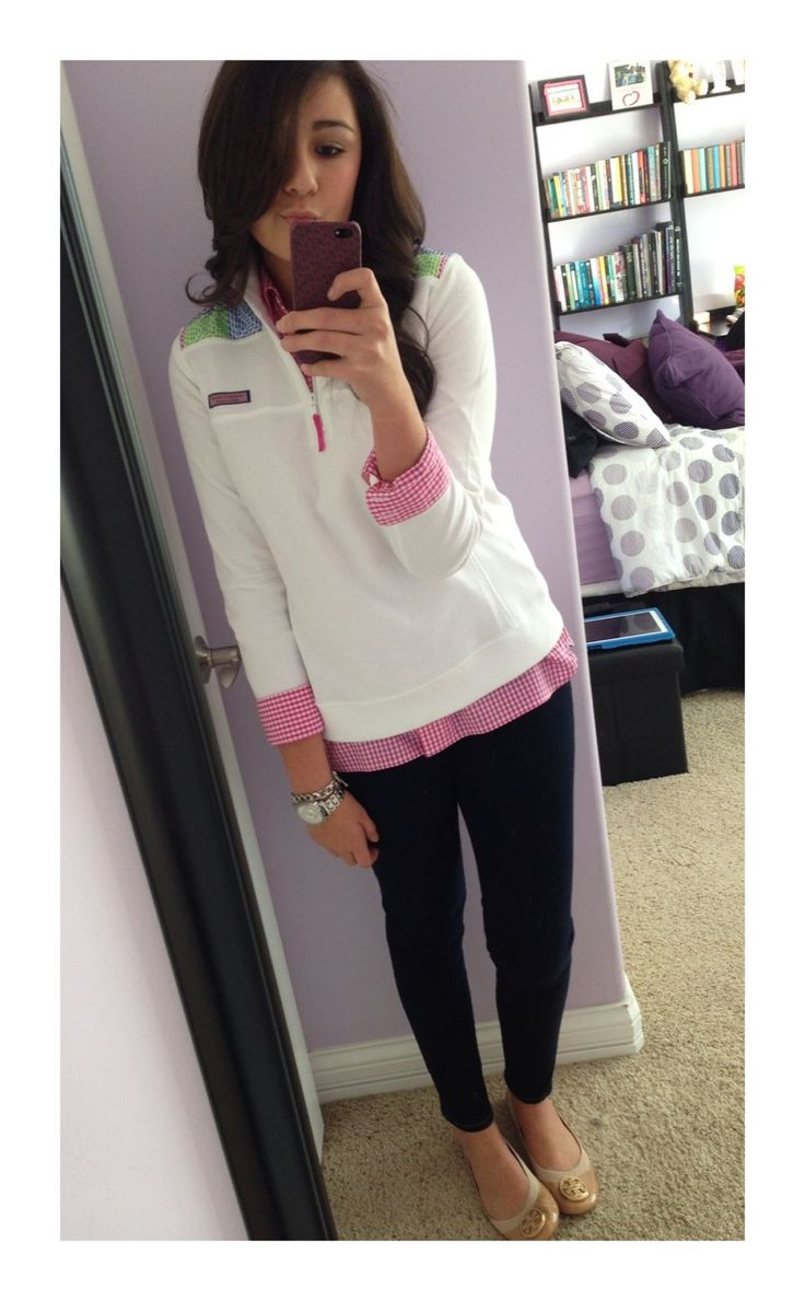 princessofthepreps: Today's outfit. Vineyard vines pullover, gingham button down, jeans, and tory burch flats