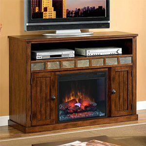 sedona electric fireplace media cabinet in carmel oak