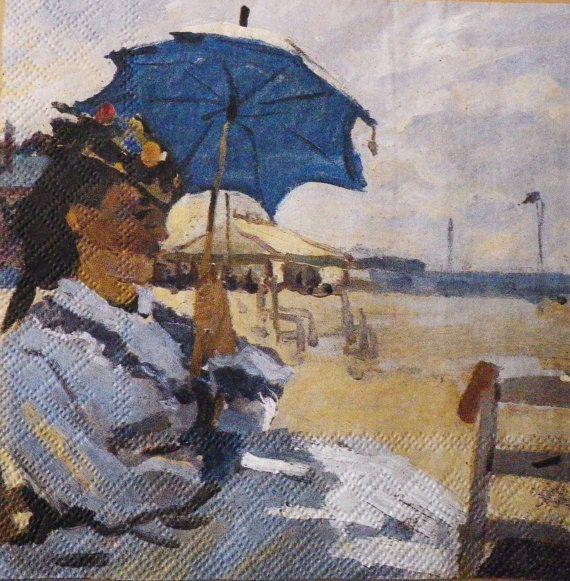 Enkele één servet Art Monet Strand van van Dalilasdecoupage op Etsy