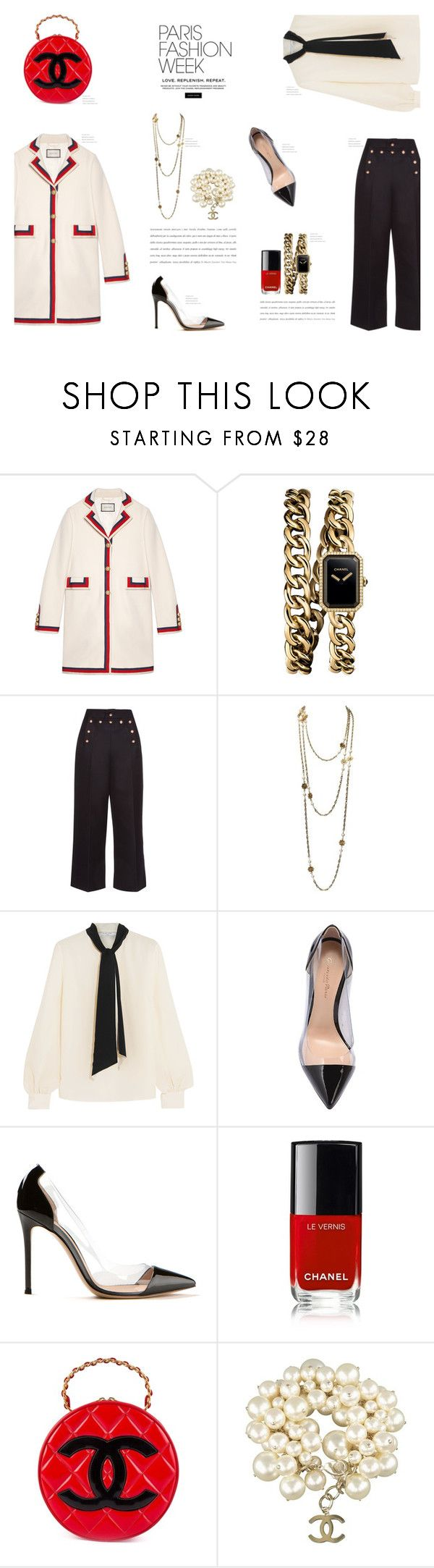 """PARIS Fashion Week"" by canvas-moods ❤ liked on Polyvore featuring Gucci, Chanel, Marc Jacobs, Lanvin, Gianvito Rossi, Elegant, gucci, parisfashionweek and Packandgo"