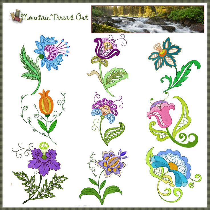 embroidery patterns | JACOBEAN FLOWERS MACHINE EMBROIDERY DESIGNS « EMBROIDERY & ORIGAMI
