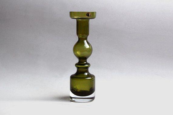 Riihimaen Lasi  Green Pompadour Vase