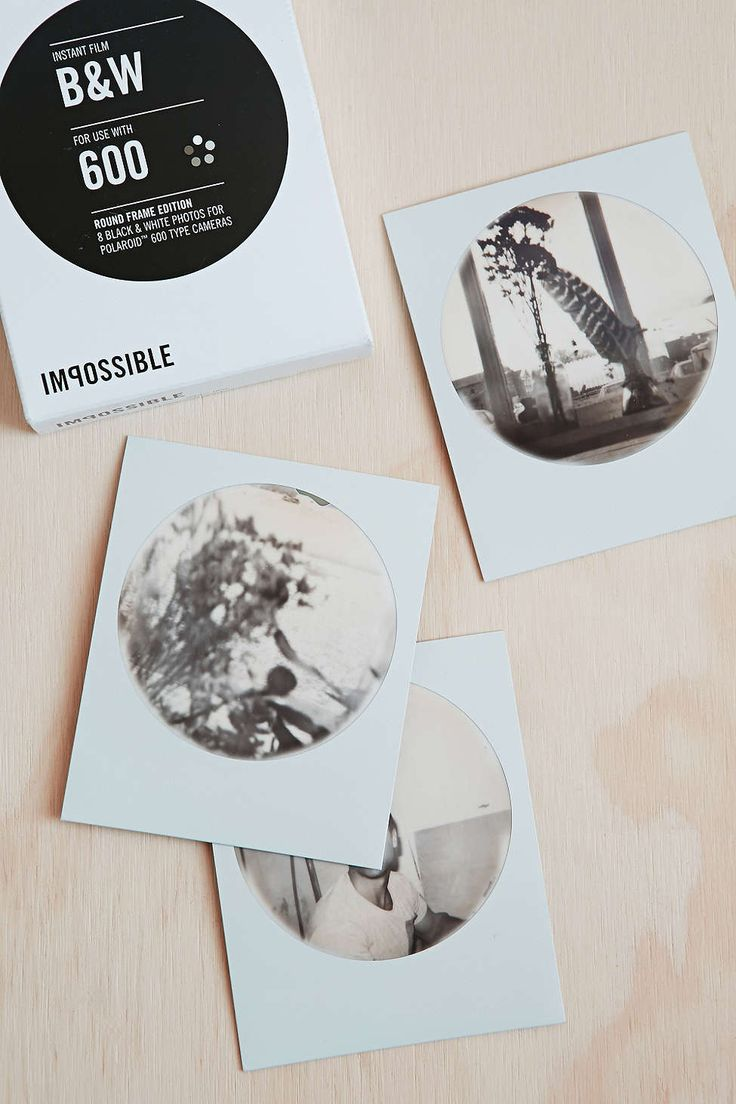 Impossible Round Frame Black + White Polaroid 600 Instant Film - Urban Outfitters