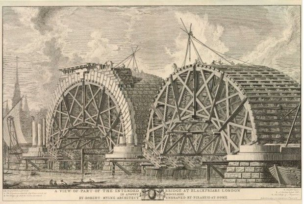"""A View of Part of the Intended Bridge at Blackfriars, London, in August MDCCLXIIII"""", by Giovanni Battista Piranesi, 1766"""