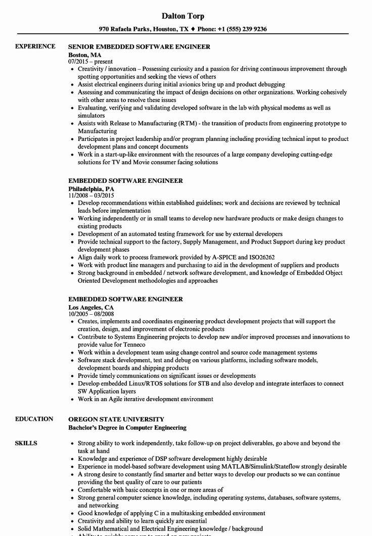 Embedded software engineer resume awesome embedded