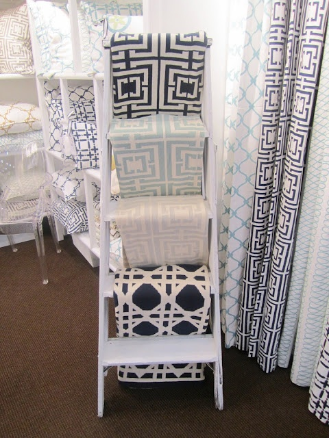 display quilts on painted ladder