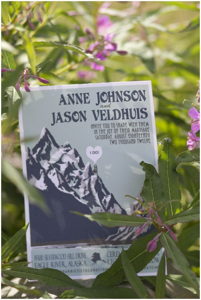 Adorable Alaskan wedding - love those invites (and the amazing scenery!). Congrats Annie and Jason!