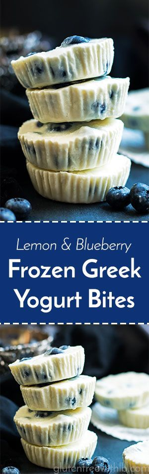 Lemon & Blueberry Frozen Greek Yogurt Bites   A healthy snack or dessert recipe for frozen Greek yogurt cups that are full of lemon and blueberry flavor!
