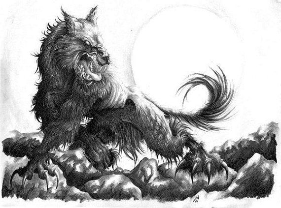 Werewolf Pencil Drawing 8x11 Print by TheGuineaPotter on Etsy, $20.00