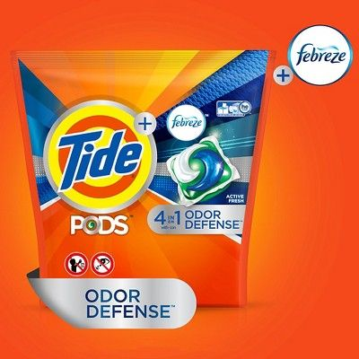 Tide Pods + Febreze 4 in 1 Odor Defense Active Fresh Scent Laundry Detergent Pacs - 26 Count