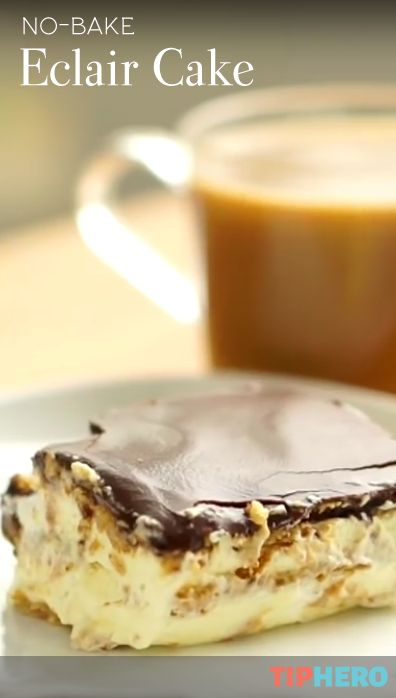 No Bake Eclair Cake | Yes, please! Impress family and friends with your baking skills with this easy to make dessert. Chocolate, vanilla pudding, cool whip and graham crackers are the key to an delicious treat.