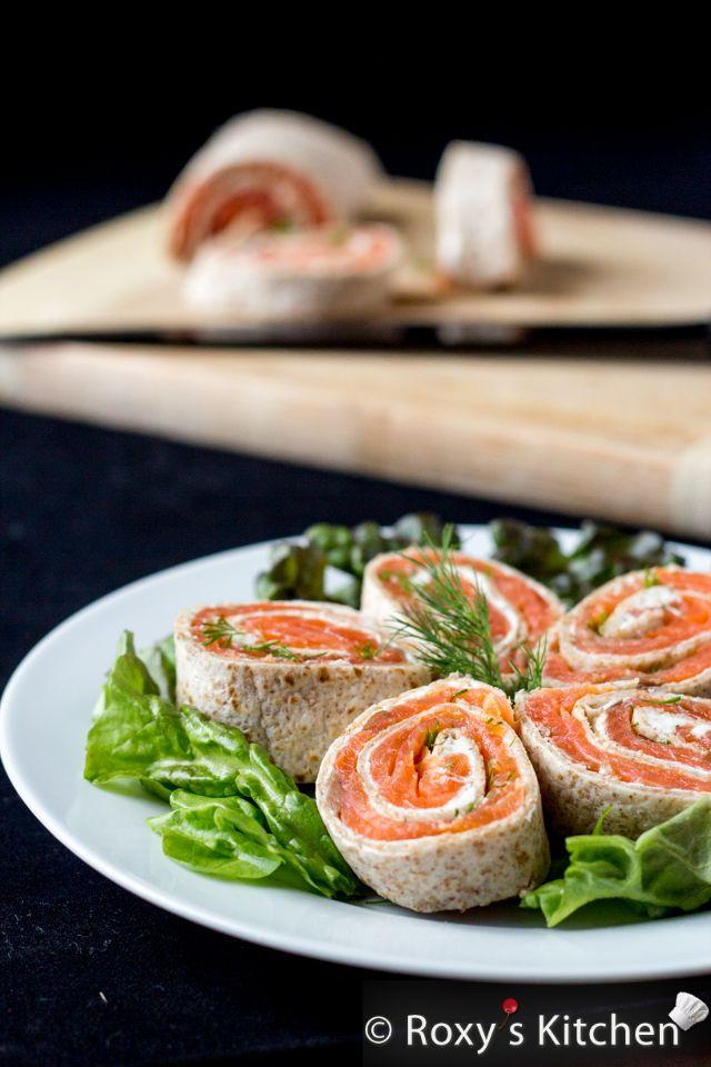 4 Ingredient Smoked Salmon Cream Cheese Tortilla Roll-Ups | Roxy's Kitchen #appetizer #healthysnack