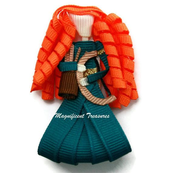 Merida Brave Princess Inspired Ribbon Sculpture Hair Clip FREE Shipping with 20 Dollar Purchase. $6.00, via Etsy.