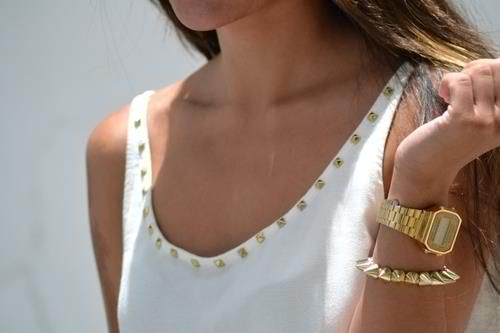 Gold accents.