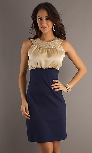 Navy Cocktail Dress with Modest Neckline at PromGirl.comHomecoming Dresses, Collars Neckline, Style, High Collars, Occa Dresses, Cocktail Dresses, Modest Neckline, Shorts Dresses, Navy Cocktails Dresses