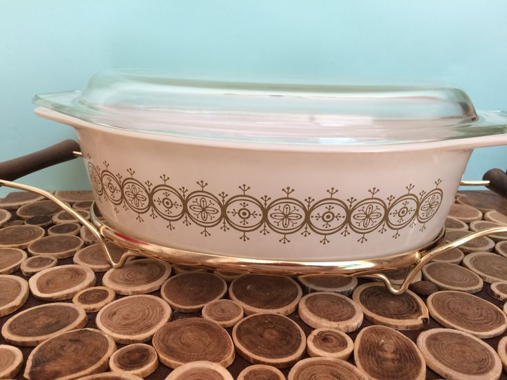 Pyrex Promotional Casserole #045 - Golden Olive Medallion with Cradle - Glass Lid - New Old Stock - NOS - Midcentury Modern Vintage Bakeware by 20thCKitchenAndTable on Etsy