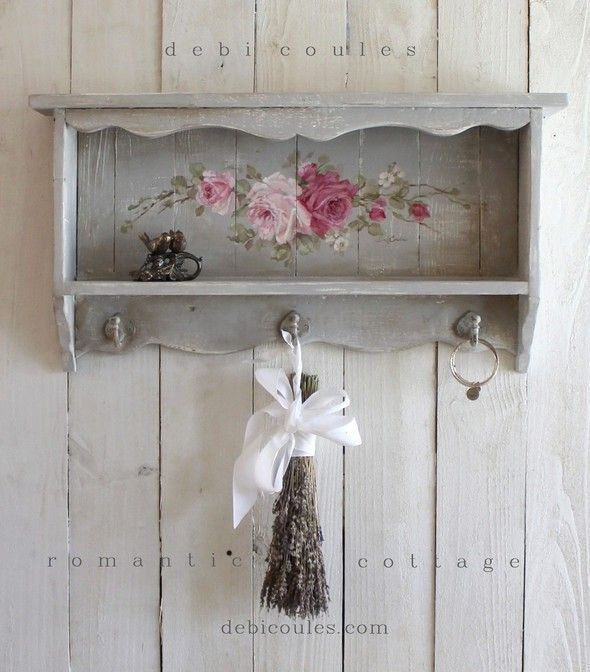 Custom Color and Decorative Vintage Style Roses Shelf - Debi Coules Romantic Art