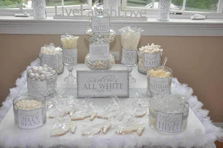 Shellee 39 s all white party 2013 candy buffets popcorn for All white party decoration