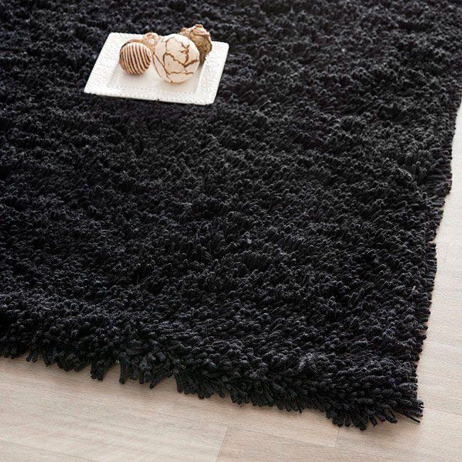 Safavieh Classic Ultra Handmade Black Shag Rug (2'6 x 4'), Size 2'6 x 4' (Acrylic, Solid)