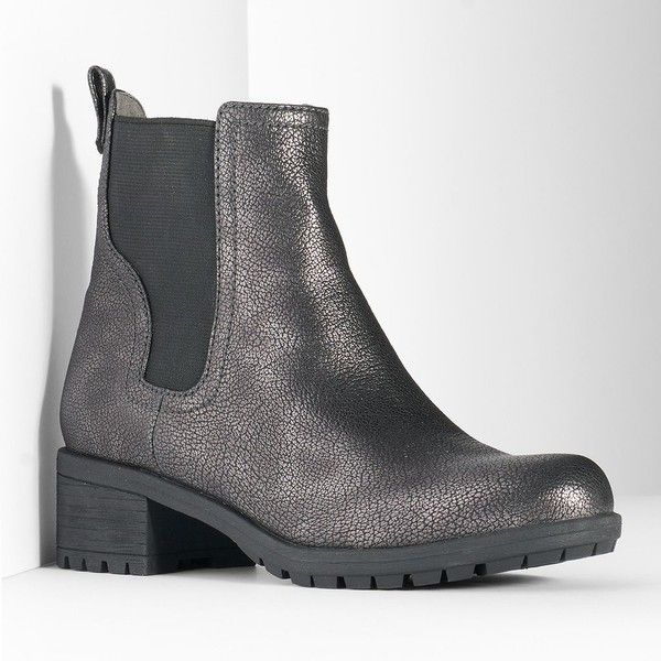 Simply Vera Vera Wang Women's Slip-On Chelsea Boots ($24) ❤ liked on Polyvore featuring shoes, boots, silver, lined ankle boots, ankle bootie boots, stretch boots, chelsea ankle boots and slip on ankle boots