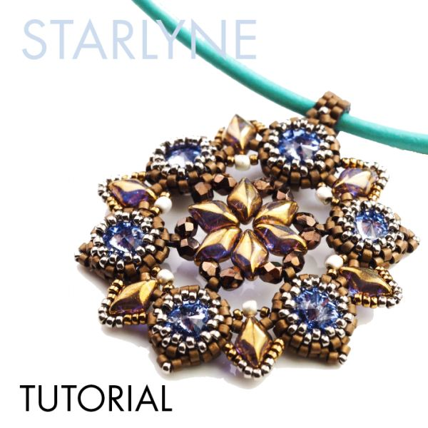 Beading tutorial with GemDuo, rivoli cabochons and Miyuki seed beads. Pendant from Erika Sandor. Sponsored by the Beadsmith.
