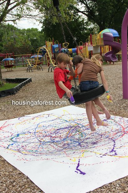 Pendulum Painting- take the grandkids to the playground with some paint in squeeze bottles. Use a inexpensive painters tarp for their canvas. If it is acrylic paint I think it needs watered down but would have more permanent results. What fun!