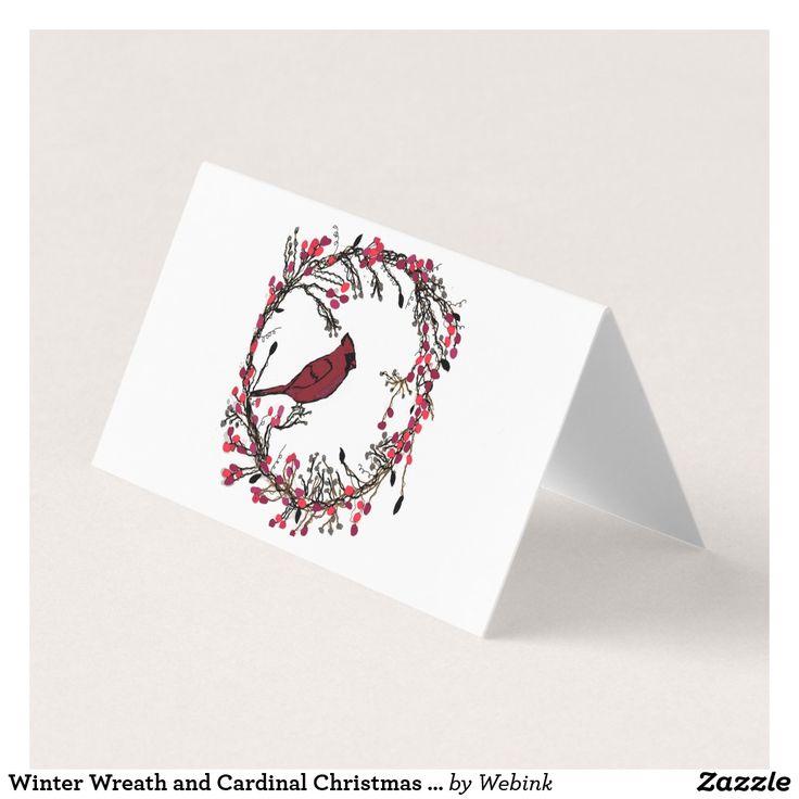Winter Wreath and Cardinal Christmas Card