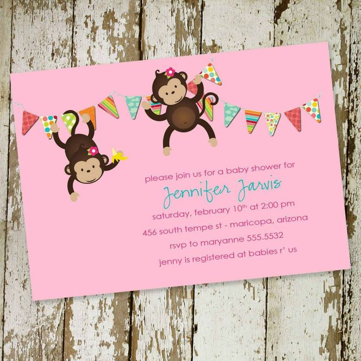 free printable camo baby shower invitations templates%0A monkey baby shower invitations  or birthday invitation with girl monkeys   digital  printable file  item